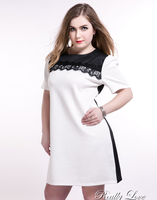 Womens Short Sleeve Party Dress Contrast White And Black Patchwork Plus Size Dress Spring Mini Dress