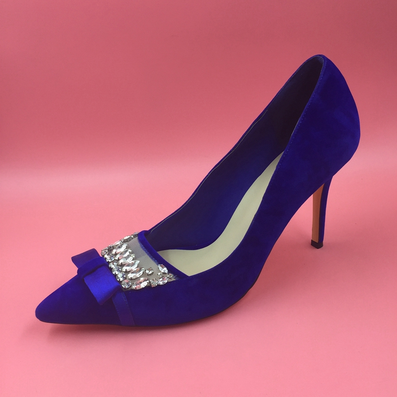 Royal Blue Faux Suede Women Pumps Pointed Toe Slip-on Rhinestones Mesh  Fabric Stilettos High Heels Pointed Toe Pumps 2017 New