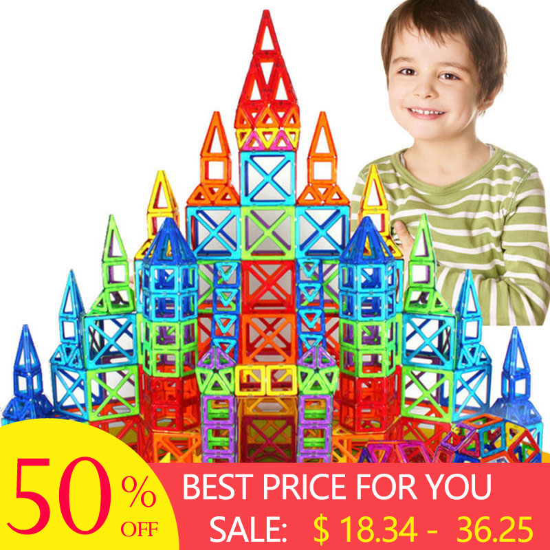 New 184pcs Mini Magnetic Designer Construction Set Model & Building Toy Plastic Magnetic Blocks Educational Toys For Kids Gift