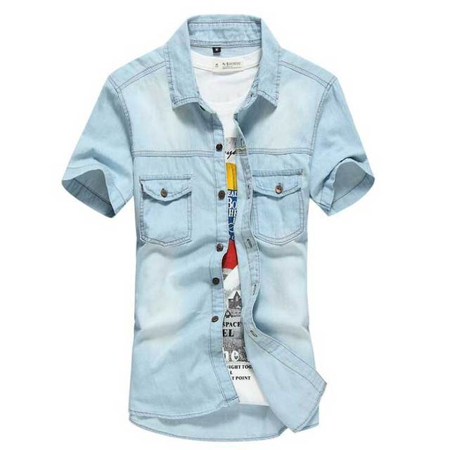 denim blouse korte mouw