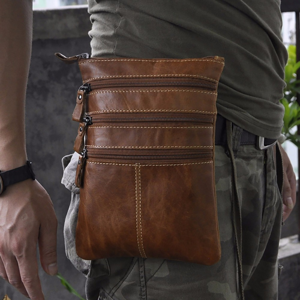Oil Wax Cowhide Genuine Leather Fanny Waist Pack Men Travel Hip Belt Purse Cell Phone Camera Bags Small Messenger Shoulder Bag