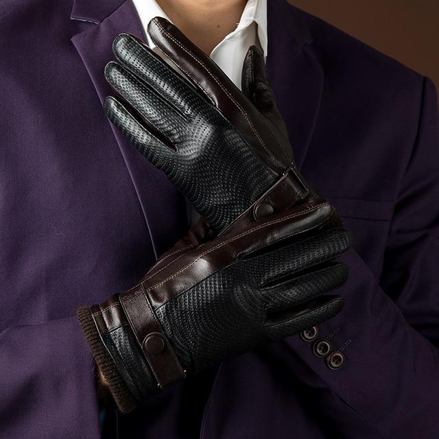 2017 Autumn and Winter Fashion New Men's Genuine Leather Gloves Goatskin Belt Button Black Plus Velvet Warm Gloves