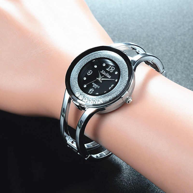 Montres de luxe pour femmes bracelet à quartz montre de mode en acier inoxydable marque xinhua montre-bracelet à cadran rond relogios