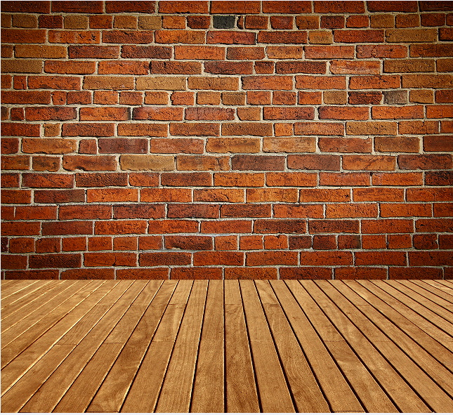 8x15ft Vintage Light Red Bricks Wall Wooden Floor Custom