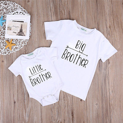 2-7Y Big Brother Baby Boys T-shirt 0-18M Little Brother Bodysuit Matching Clothes Short Sleeveless Outfits