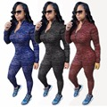 2017 fashion high quality women sexy elastic long-sleeve bodycon zipper tops and pants two pieces sets suits tracksuits