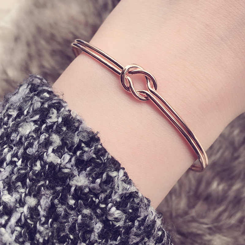Fashion Double Heart Knot Open Bangle Bracelet Manchette For Women Girls Wrist Cuff Hand Bracelets Jewelry Christmas Gifts
