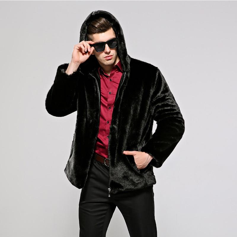HONGZUO 2017 New Arrival Fashion Men Fur Coat Hooded Luxury Mink Fur Coat Turn down Collar Artificial Fur Jacket Parka PC261