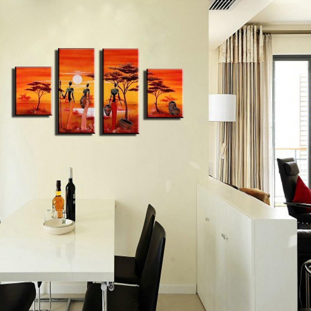 foto lienzo pintado a mano hermosa pintura mujer africana sunset abstracta moderna pinturas al leo para