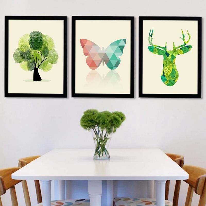 Résumé Nordique Cerfs Toile Peintures Scandinavie Affiche et Imprimer Wall Art Photos pour Salon Home Office Décor Sans Cadre