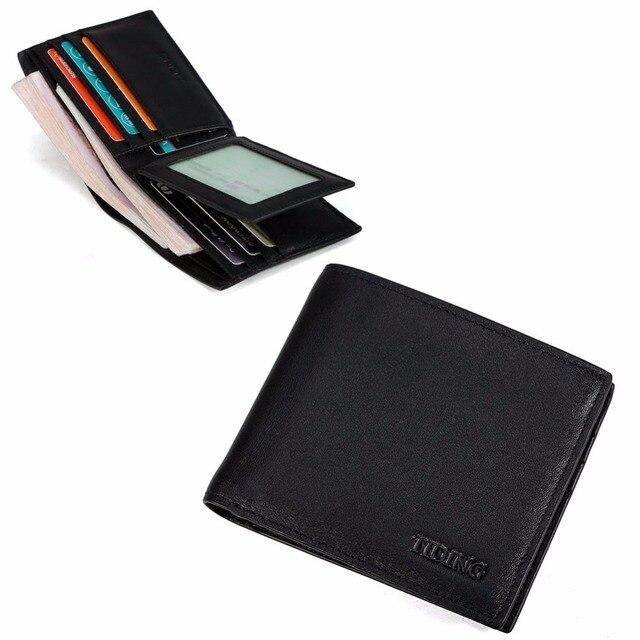 e613bcf90b TIDING men nappa genuine leather bifold wallet purse credit card holder  photo ID window 4205