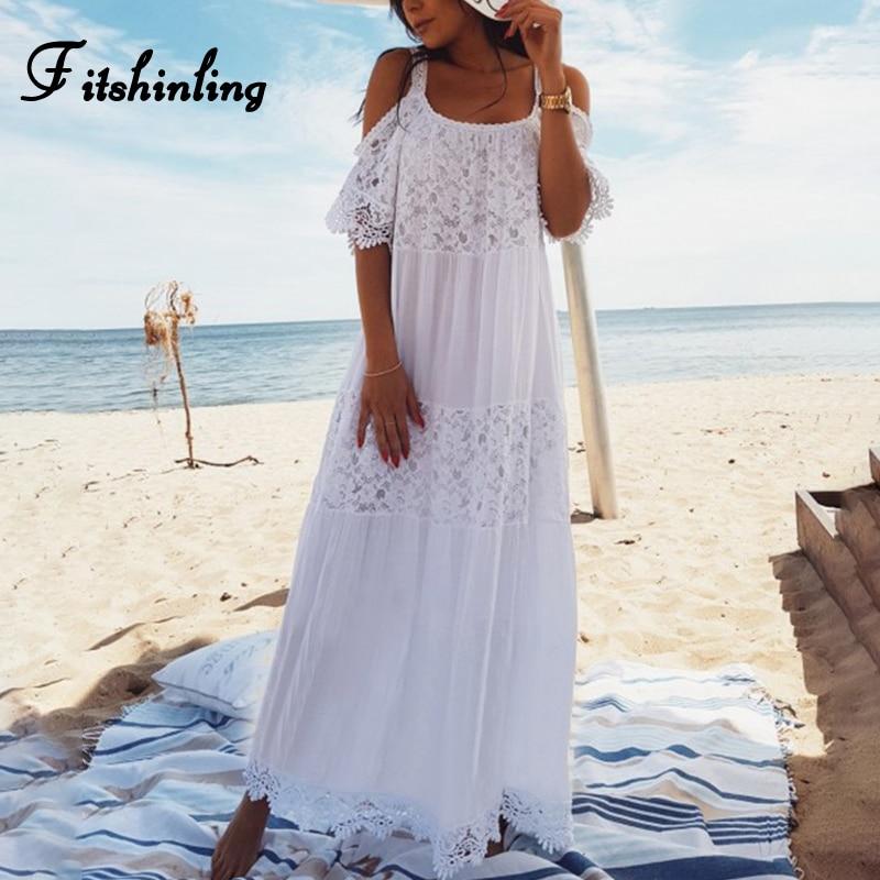 Fitshinling богемный кружево лоскутное Макси платья для женщин туника с открытыми плечами пикантные белые длинное платье Праздник ремень летн