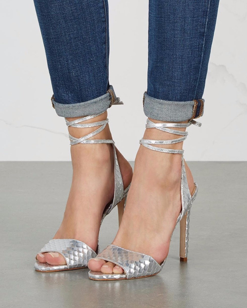 Silver color fashion style sandals for font b women b font high heel peep toe elegant