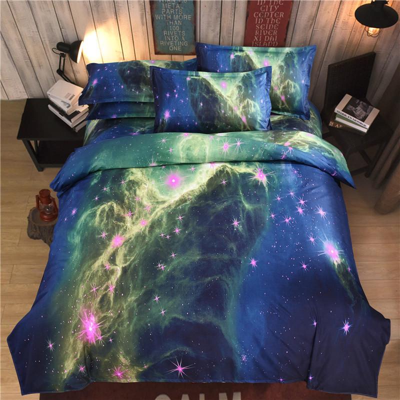 iDouillet 3D Nebala Outer Space Star Galaxy Bedding Set 2/3/4 pcs Duvet Cover Flat Sheet Pillowcase Queen Twin Size 26