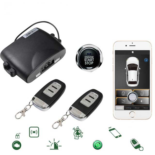 Mobile Phone Control Car PKE One-key Start Anti-theft System Mobile Phone Remote Start With Engine Lock Function