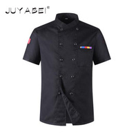 2017 High Quality Chef Uniforms Clothing Short Sleeve Men Food Services Cooking Clothes 5 Color Big