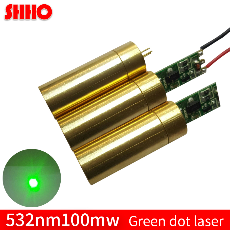 Adjustable focus distance 532nm 100mw green dot laser module 12*50mm brass laser positioning locator accessories green point