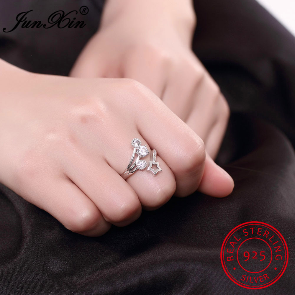 925 Sterling Silver Rings – Adjustable Size with Start Shape and ...