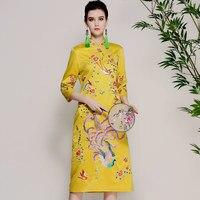 2018 Весна и осень платье Женская Ретро с вышивкой в китайском стиле платье Ципао дамы тонкий семь рукавом Стенд воротник платья