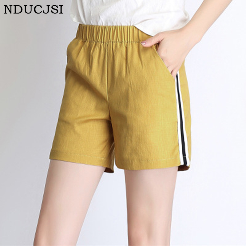 NDUCJSI 2018 Summer Women's Cotton Shorts High Waisted Loose Large Size Women Wide Leg Shorts Wild Wild Casual Regular Shorts