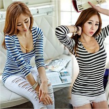 New 2016 Autumn Fashion Slim Tshirt Women Striped Long Sleeve Sexy Female T-Shirt Cheap Price S M L T6026