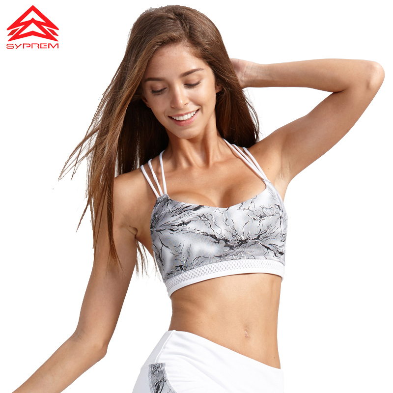 Syprem Sports Bra Fitness bra Women Rock Texture Printing Fitness Bra Crossed straps Shockproof Padded Running yoga Bra 1FT0024 plain bandeau bra