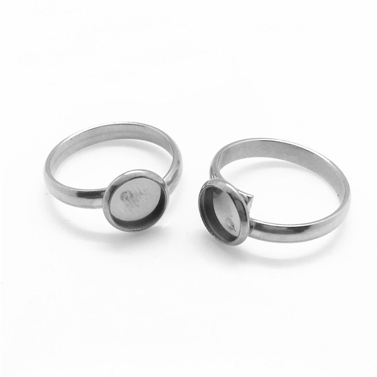 Glass Cabochons Bases Stainless Steel Ring Settings 10mm