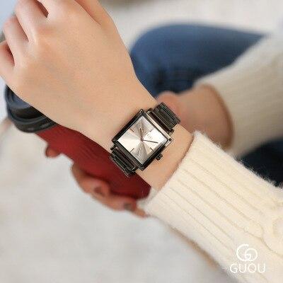 GUOU marque montre à quartz décontractée femmes noir en acier inoxydable robe montres carré classique dames montre-bracelet Relogio Feminino