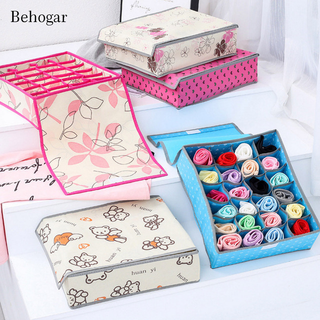 Behogar 24Grids Collapsible Non Woven Drawer Organizer Divider Boxes  Underwear Sock Bra Tie Scarfs Closet