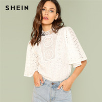 SHEIN White Elegant Office Lady Workwear Embroidery Contrast Lace Cut Out Button Women Blouses Stand Collar