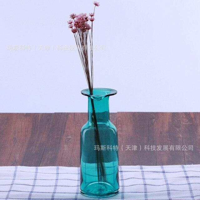 New Design Baroque Light Blue Small Cute Glass Vase Vintage Zakka