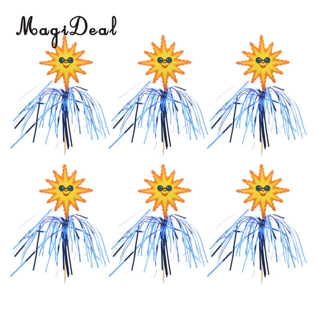 50pcs Funny Sun Cocktail Picks Fruit Cake Sticks Drink Party Snack Cupcake Picks Party Tableware