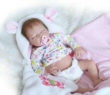 Nueva 55 cm Dormir Renacer Baby Girl Doll 22 Pulgadas Suave Vivo medio Cuerpo Completo de Silicona Renacer Muñecas Gendarme Chica Kids Regalos Bonecas