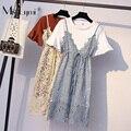 68205fd8cbadb M-4XL Artı Boyutu Kadın Iki Parçalı Set Elbise Yaz 2019 Çiçek oyma dantel  Tığ