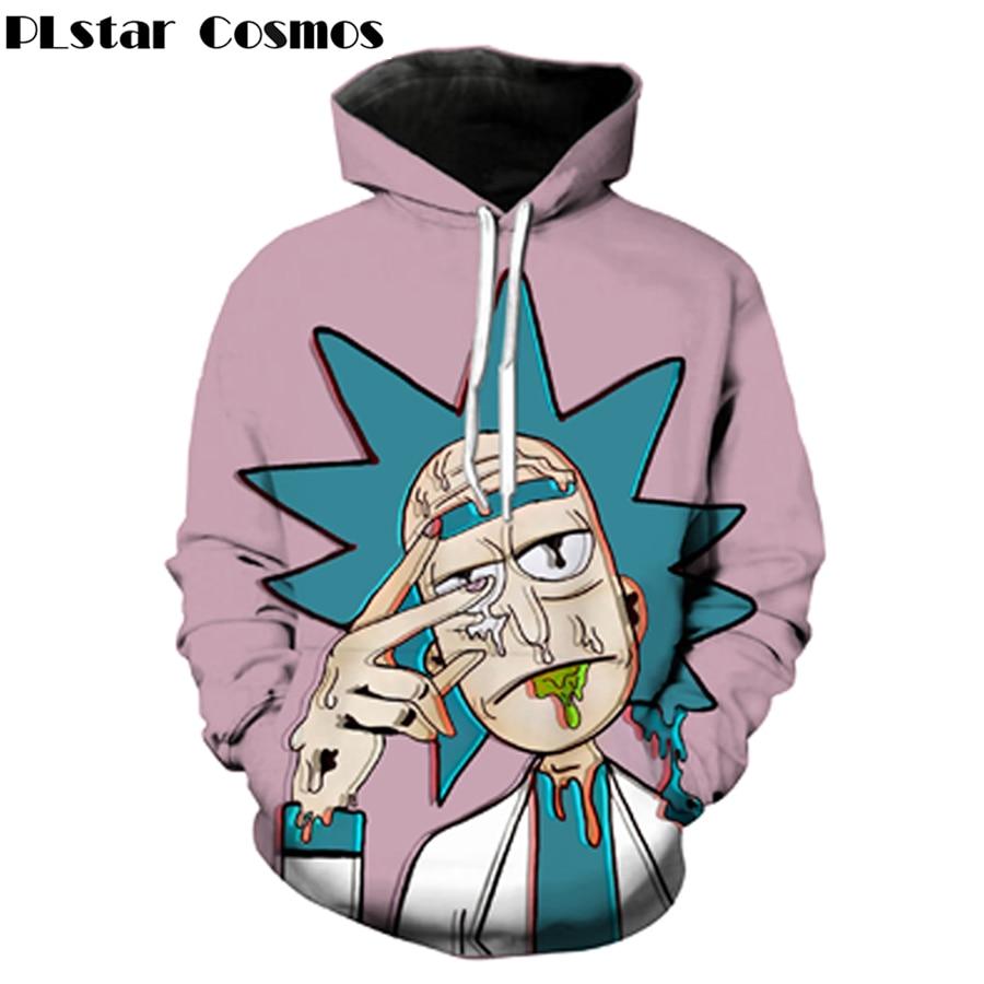 PLstar Cosmos Classic Cartoon Rick And Morty 3d Hoodies Funny Crazy Scientist Rick Print Men