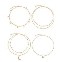 4 Pcs Fashion Moon Pearl Alloy Pendant Necklace Set Simple Gold Color Layered Chain Choker A016