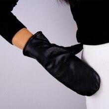 Genuine Leather Gloves Female Imported Sheepskin Women Mittens Fashion Black Thicken Warm Fingerless TB23