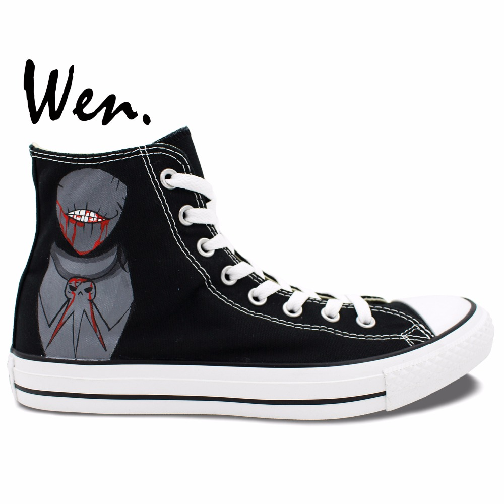 Wen Design Custom Hand Painted Sneakers Soul Eater Death the Kid Anime Men Women's High Top Black Canvas Shoes ensemble stars 2wink cospaly shoes anime boots custom made