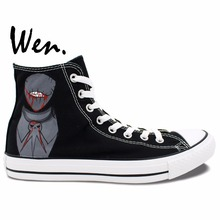 Wen Design Custom Hand Painted Sneakers Soul Eater Death the Kid Anime Men Women's High Top Black Canvas Shoes