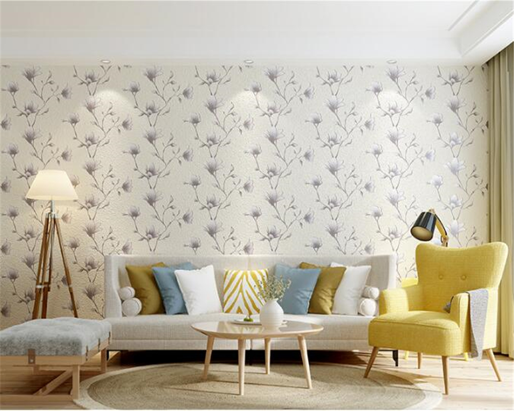 beibehang Stereo Nonwoven Wallpaper Orchid Bedroom Pastoral Sofa Living Room Simple Modern TV Background Wallpaper papier peint modern simple wallpaper fashion grain pattern nonwoven nonwoven 3d mural wallpaper tv sofa bedroom background wallpaper
