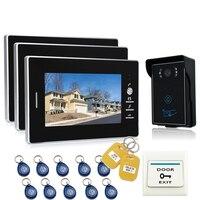 JEX 7`` LCD Video Door Phone Intercom Entry System 700TVL Touch Key Waterproof RFID Access Camera with Room to Room intercom 1V3