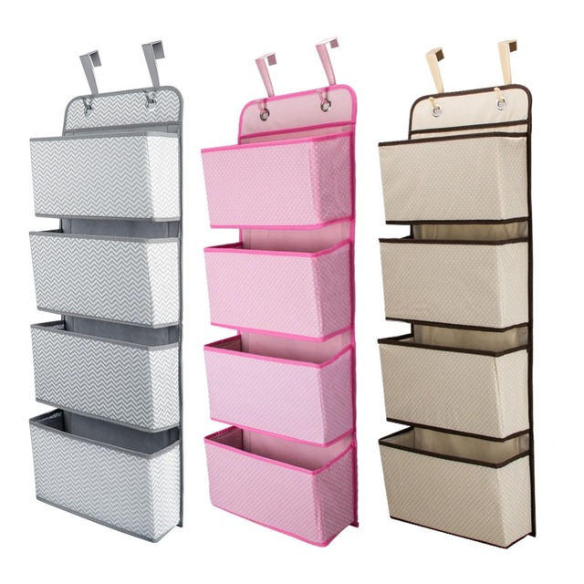 High Quality 4 Pockets Door Back Wall Bedside Cabinet Wardrobe Hanging Bag Storage Organizer for Sundries Underwear Toys