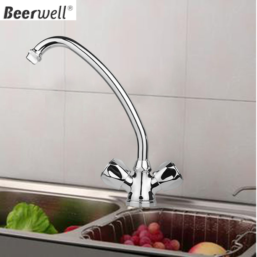 Long neck kitchen faucet - 2015 New Long Neck Kitchen Mixer Basin Sink Hot Cold Chrome Faucet Swivel Tap Faucet Tap