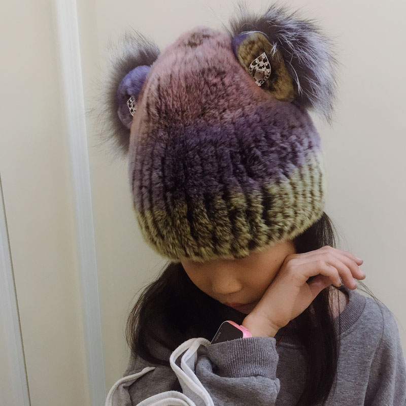 Knitted Rex Rabbit Fur Hat Real Fur Cat Ear Hat Girls Beanies With Diamond Kids Hand Knitted Skullies 42-52cm