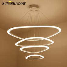 Modern LED Chandelier For Living room Dining Kitchen Black White Body Led Ceiling Lightings AC110V 220V