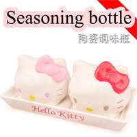New Lovely Pink Colour Cathead Kitchen Flavor mini Bottle Suit Ceramics Food Container Jars For Spices storage box