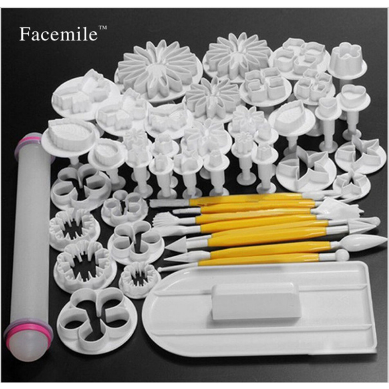 46 PCS/SET Fondant Cake Mold Set Flower Cake Decorating Tools Kitchen Baking Molding Kit Sugarcraft Making Mould For Cookie ...