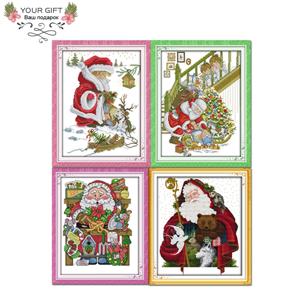 Joy Sunday <font><b>R308</b></font>(1)(4)(6)(7) Free Shipping Home Decoration Merry Christmas Cross Stitch Kits Cheap-Christmas-Ornament image