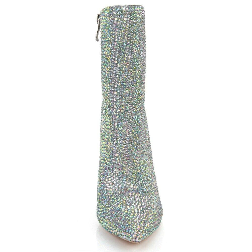 Del cuoio genuino tacchi sottili di strass punta a punta stivali scarpe da sposa primavera scarpe di cristallo stivali Fatti A Mano di strass incollato