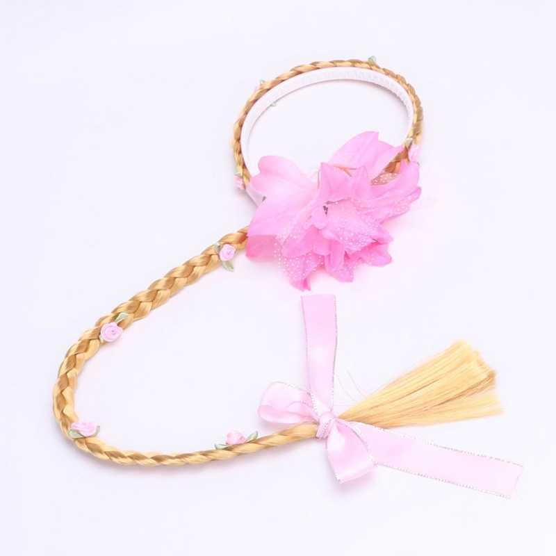 Rambut Pirang Cosplay Tenun Kepang Tangled Rapunzel Putri Headband Gadis Rambut Wig